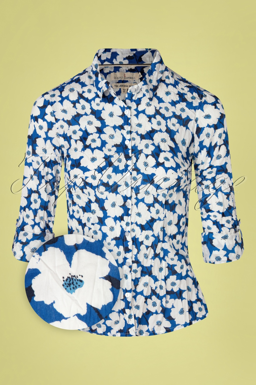 Women's 70s Shirts, Blouses, Hippie Tops 70s Larissa Mallow Flower Blouse in Cargo Blue £51.90 AT vintagedancer.com