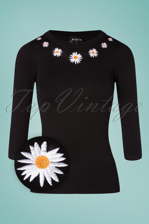 60s Shirts, T-shirts, Blouses, Hippie Shirts 60s Sydney Daisy Dreamer Jumper in Black £47.57 AT vintagedancer.com
