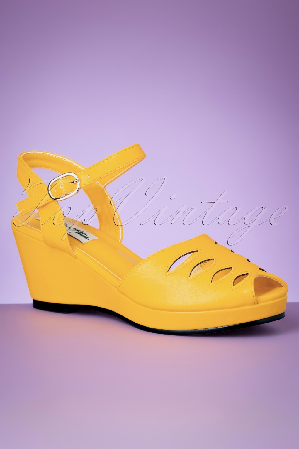 1940s Women's Footwear 60s Lily Wedge Sandals in Yellow £47.57 AT vintagedancer.com