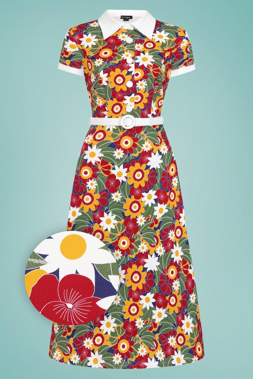 70s Dresses – Disco Dress, Hippie Dress, Wrap Dress 60s Nia Tropical Floral Dress in Multi £60.44 AT vintagedancer.com