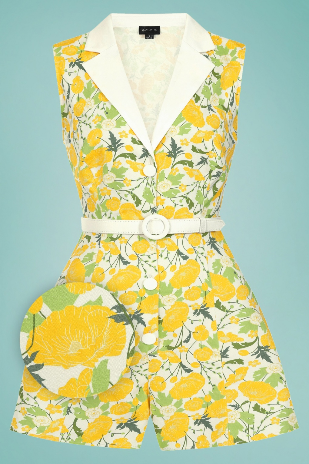 Vintage Rompers, Playsuits   Retro, Pin Up, Rockabilly Playsuits 60s Lucy Buttercup Floral Playsuit in White and Yellow £47.57 AT vintagedancer.com