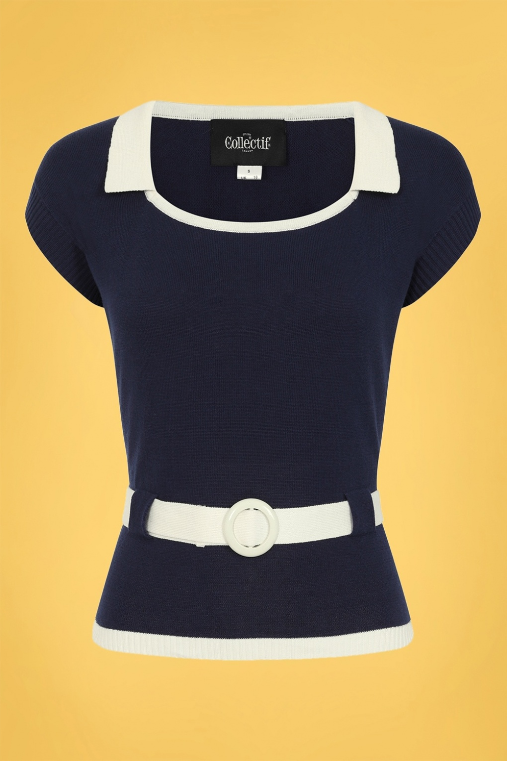 60s Shirts, T-shirts, Blouses, Hippie Shirts 60s Norma Knitted Top in Navy £38.84 AT vintagedancer.com