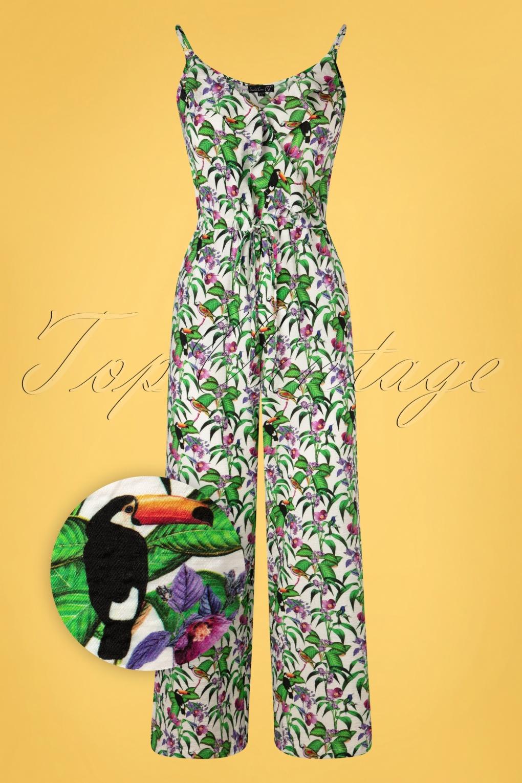 Retro Tiki Dress – Tropical, Hawaiian Dresses 60s Jenni Tropical Jumpsuit in White £69.22 AT vintagedancer.com