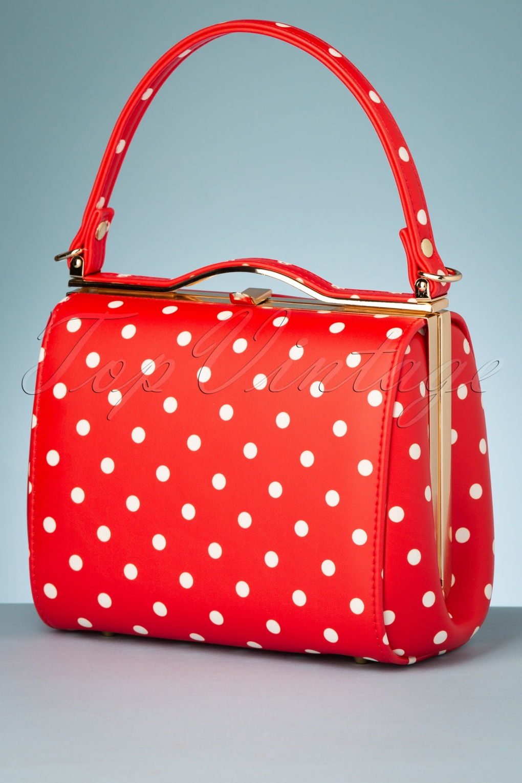 1950s Handbags, Purses, and Evening Bag Styles 60s Carrie Polka Dot Bag in Red £38.91 AT vintagedancer.com