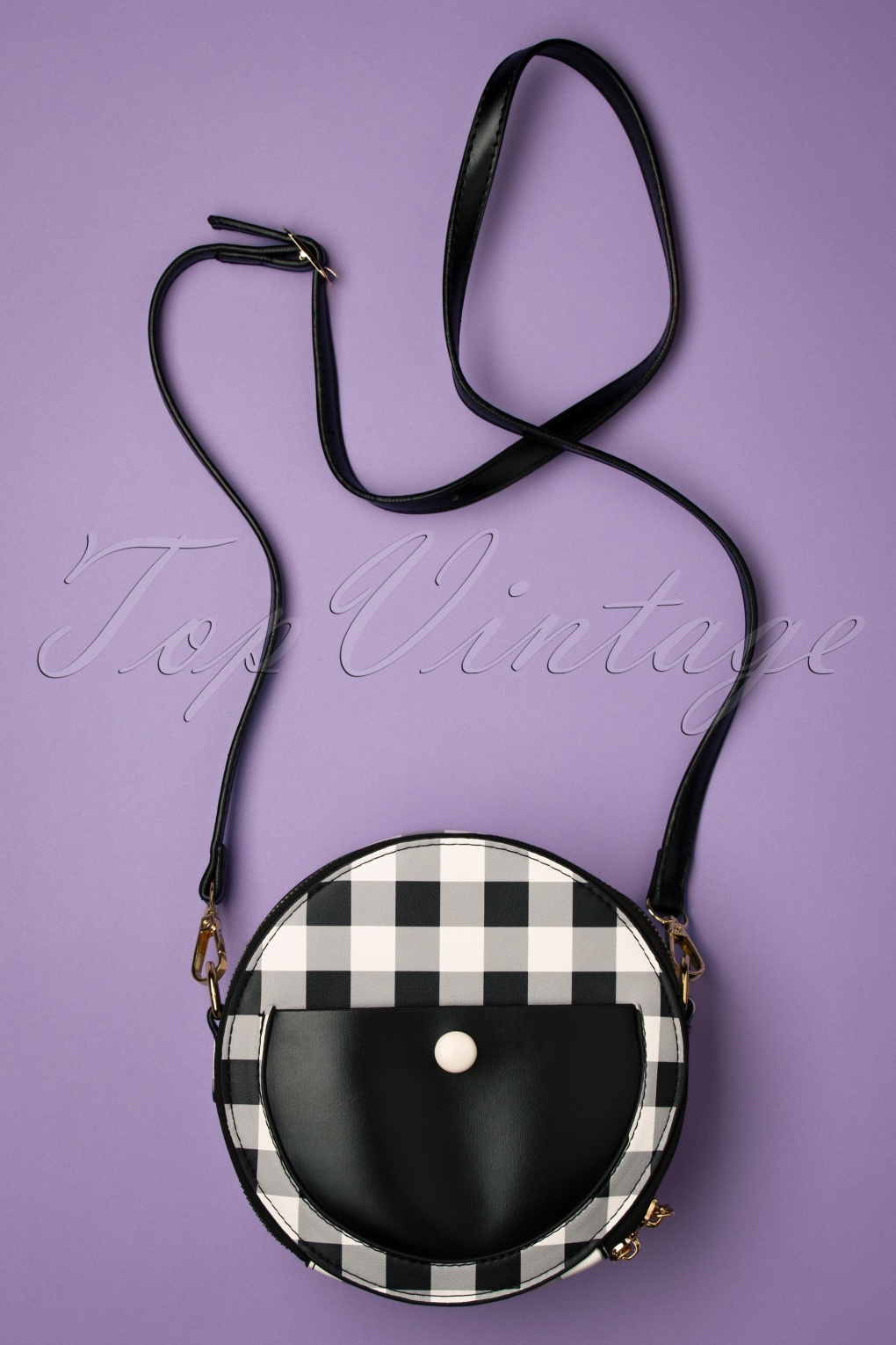 1950s Handbags, Purses, and Evening Bag Styles 50s Loretta Round Bag in Gingham £37.18 AT vintagedancer.com