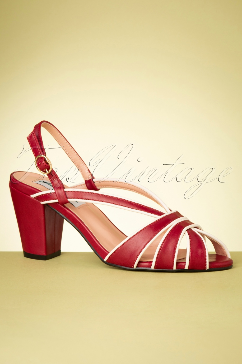1950s Style Shoes | Heels, Flats, Boots 50s Lila High Heeled Peeptoe Sandals in Red £51.90 AT vintagedancer.com