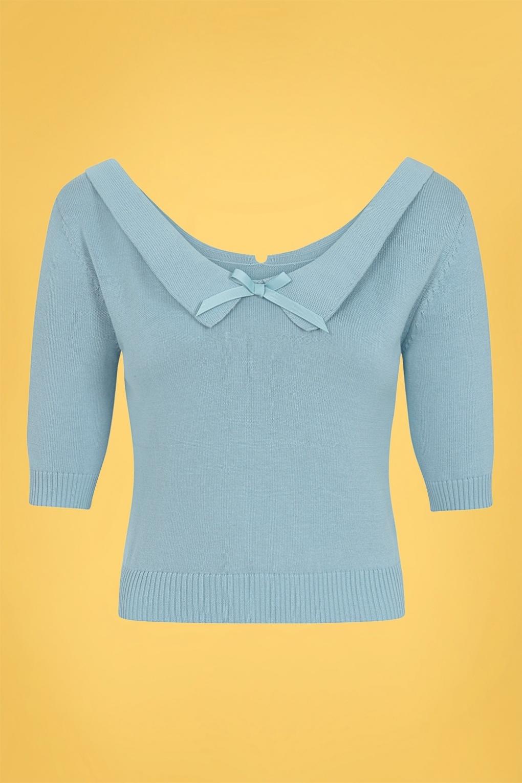 50s Shirts & Tops 50s Babette Jumper in Pale Blue £38.91 AT vintagedancer.com