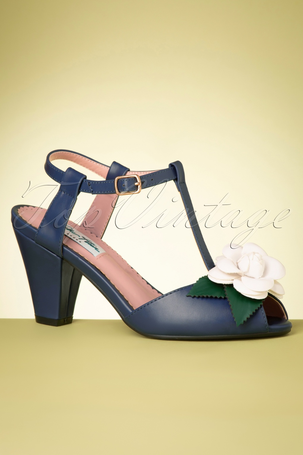 1950s Style Shoes | Heels, Flats, Boots 50s Rosa High Heeled T-Strap Sandals in Navy £47.57 AT vintagedancer.com
