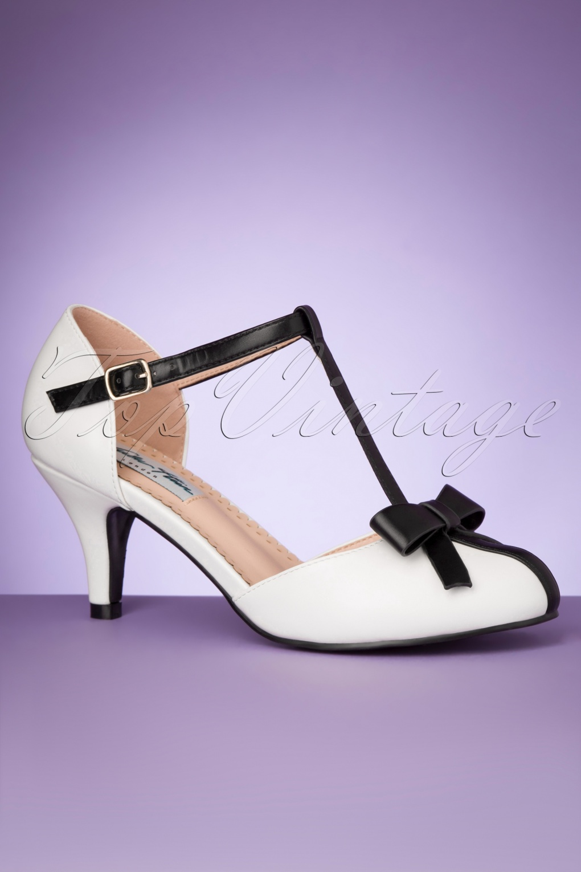Shoes, Vintage Heels, Retro Heels, Pumps 50s Amber T-Strap Pumps in White £47.57 AT vintagedancer.com