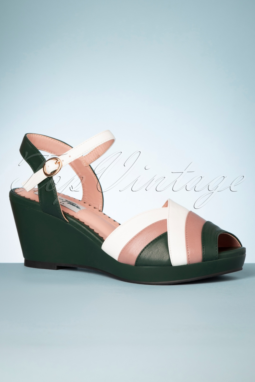 Shoes, Vintage Heels, Retro Heels, Pumps 70s Tonya Wedge Sandals in Green £47.57 AT vintagedancer.com