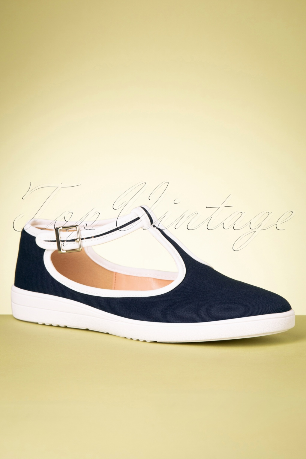 1920s Style Shoes, Heels, Boots 50s Gaia T-Strap Sneakers in Navy £51.38 AT vintagedancer.com