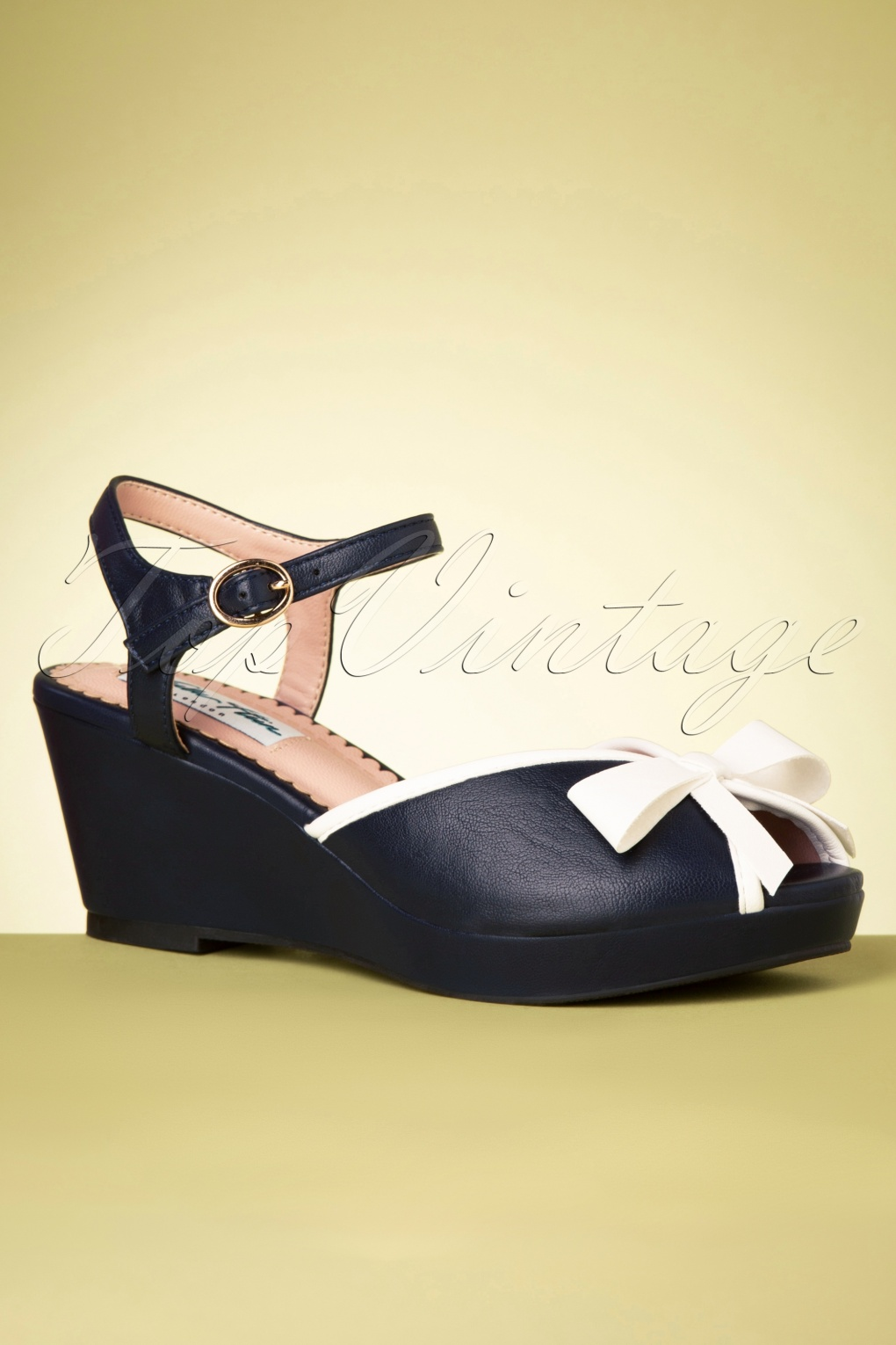 1940s Style Shoes, 40s Shoes, Heels, Boots 60s Connie Wedge Sandals in Navy £47.57 AT vintagedancer.com