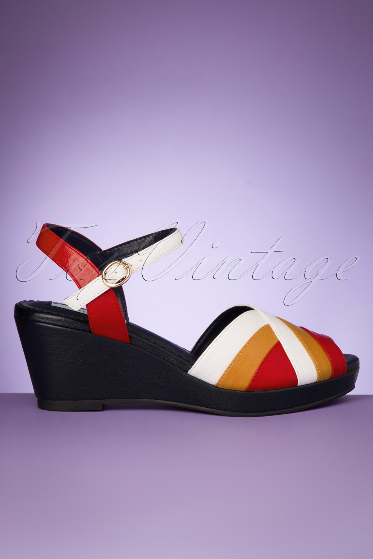 70s Shoes, Platforms, Boots, Heels | 1970s Shoes 70s Tonya Wedge Sandals in Navy £47.57 AT vintagedancer.com
