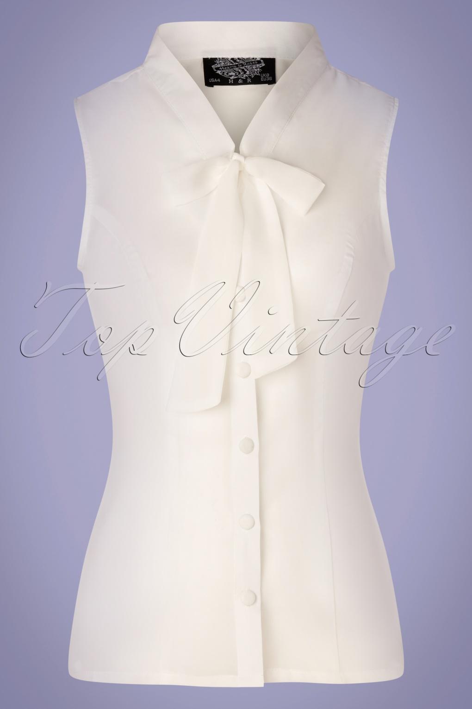 50s Shirts & Tops 50s Celestine Blouse in White £25.93 AT vintagedancer.com
