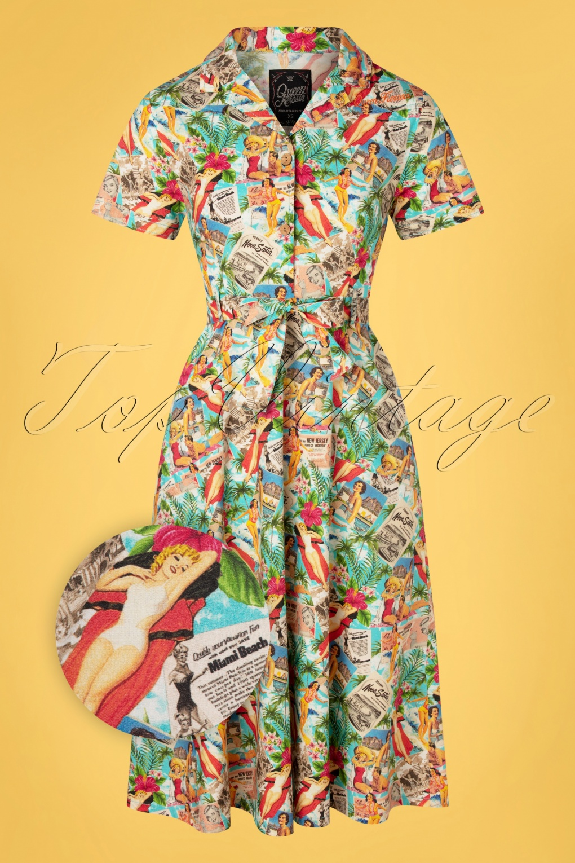 Retro Tiki Dress – Tropical, Hawaiian Dresses 50s Tanja Tropical Swing Dress in Multi £69.22 AT vintagedancer.com
