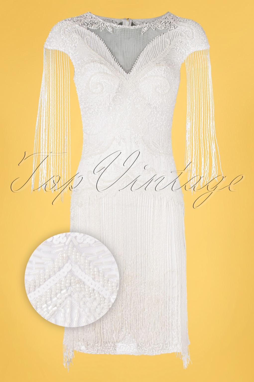 1920s Wedding Dresses- Art Deco Wedding Dress, Gatsby Wedding Dress 20s Sybill Fringe Flapper Dress in White £129.82 AT vintagedancer.com