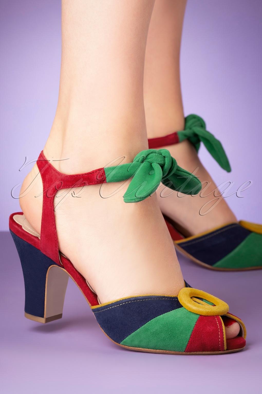 1940s Women's Footwear 40s Lorena Suede Peeptoe Pumps in Kodachrome Brights £129.31 AT vintagedancer.com