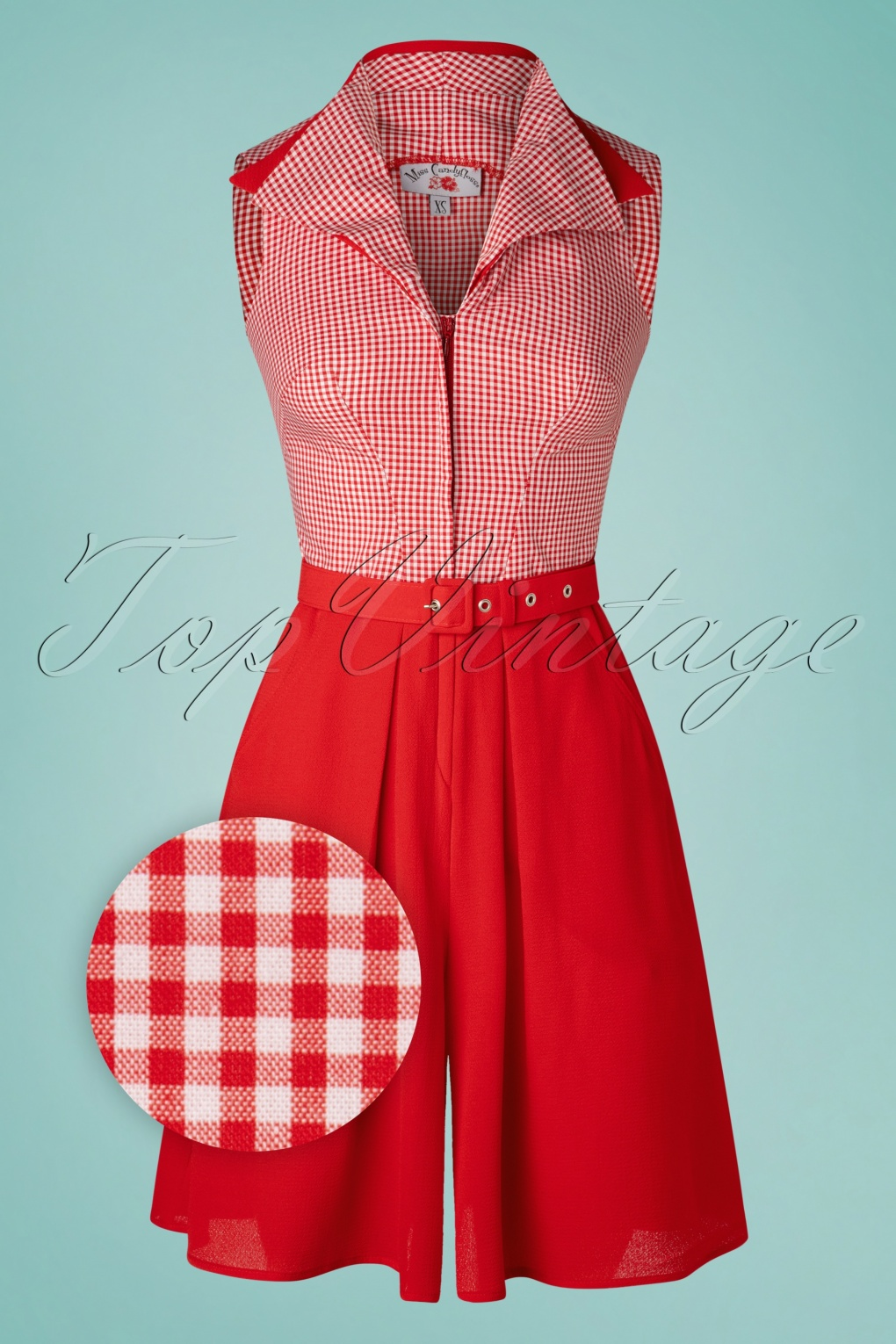 1950s Style Clothing & Fashion 50s Luzana Rose Playsuit in Red £107.09 AT vintagedancer.com
