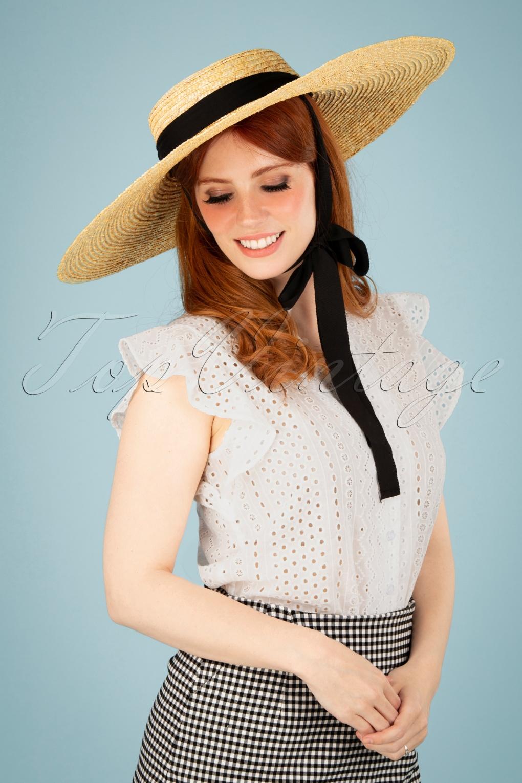 1950s Hats: Pillbox, Fascinator, Wedding, Sun Hats 50s Raina Wide Brim Straw Hat in Natural £42.81 AT vintagedancer.com