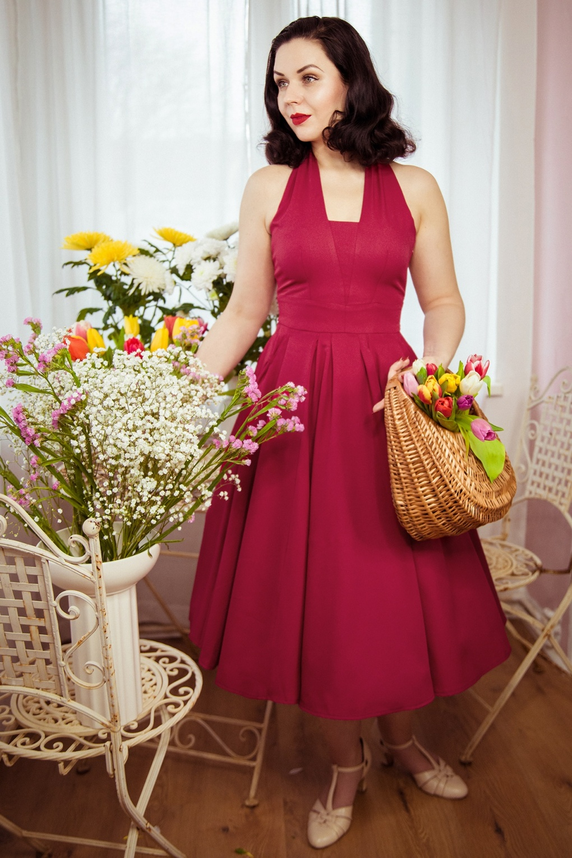 1950s Bridesmaid Dresses   50s Bridesmaid Dresses 50s Myra Cerise Swing Dress in Cerise £104.99 AT vintagedancer.com