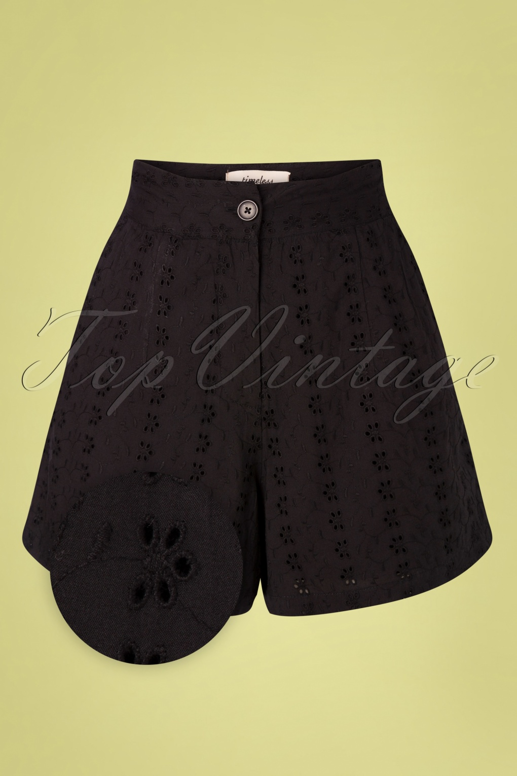 1950s Style Clothing & Fashion 50s Iris Broderie Shorts in Black £38.53 AT vintagedancer.com