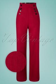 Pantalones 40s Rachel de lino en rojo oscuro