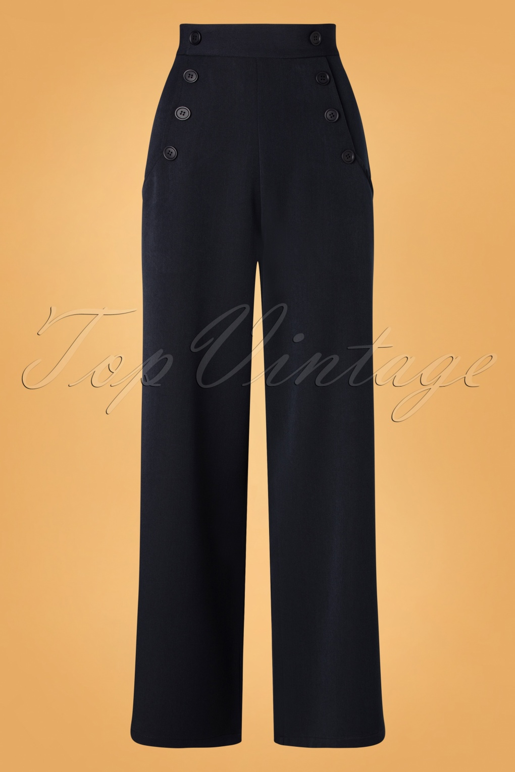1930s Wide Leg Pants and Beach Pajamas 40s Carlie Swing Trousers in Navy £51.01 AT vintagedancer.com