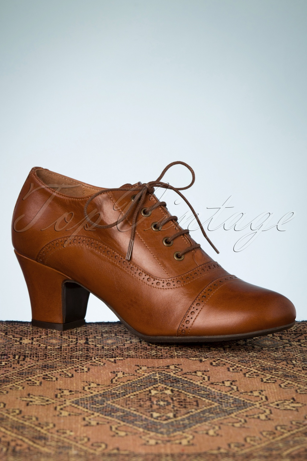 1940s Style Shoes, 40s Shoes, Heels, Boots 40s Fly Shoe Booties in Brandy £119.09 AT vintagedancer.com