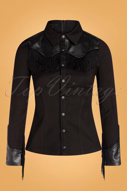 Vintage Western Wear Clothing, Outfit Ideas 50s Donna Western Blouse in Black £64.46 AT vintagedancer.com