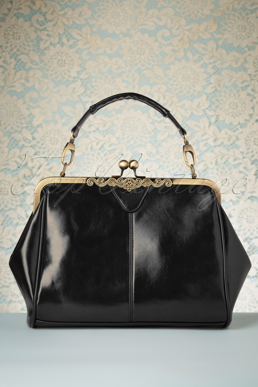1920s Dresses UK | Flapper, Gatsby, Downton Abbey Dress 20s Vintage Frame Kisslock Clasp Bag in Black £33.99 AT vintagedancer.com