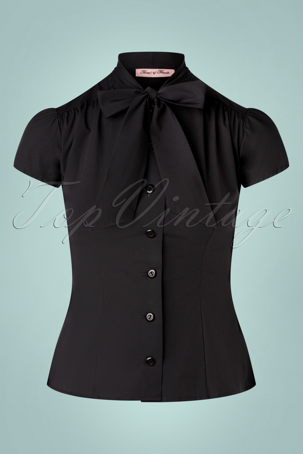 1950s Tops and Blouse Styles 50s Estelle Blouse in Black £68.03 AT vintagedancer.com