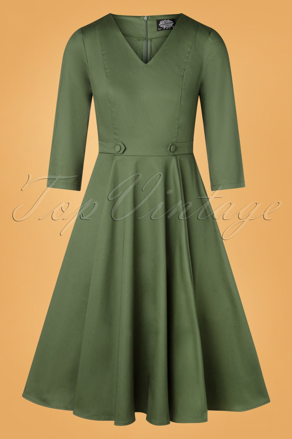 Pin Up Dresses | Pinup Clothing & Fashion 50s Sabby Swing Dress in Olive Green £51.01 AT vintagedancer.com