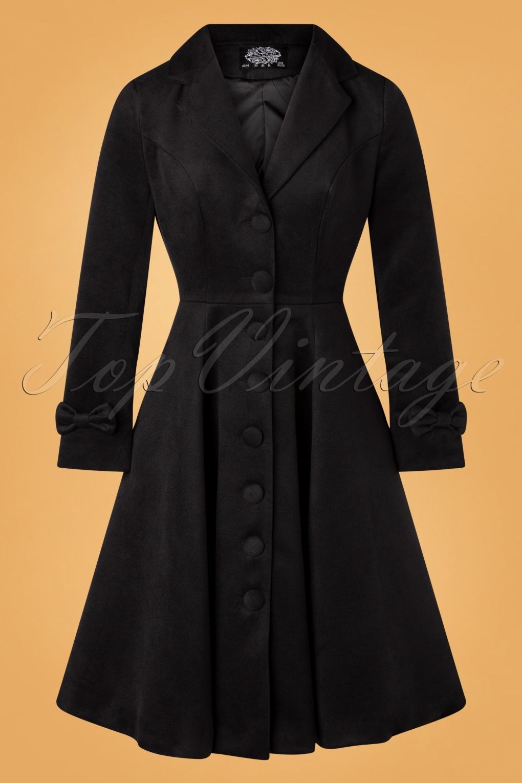 Vintage Coats & Jackets | Retro Coats and Jackets 50s Marscha Swing Coat in Black £102.07 AT vintagedancer.com