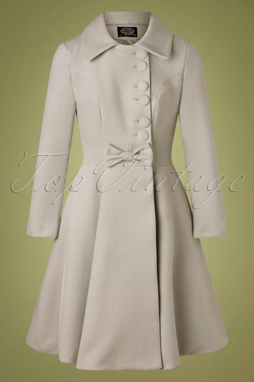 Vintage Coats & Jackets | Retro Coats and Jackets 50s Evana Swing Coat in Light Grey £102.07 AT vintagedancer.com