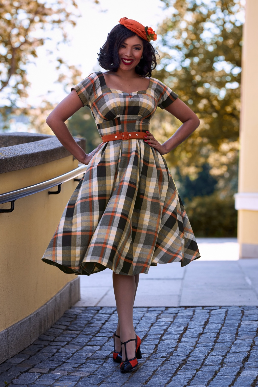 Pin Up Dresses | Pinup Clothing & Fashion 50s Phoebe Amber Tartan Swing Dress in Black and Brick £119.09 AT vintagedancer.com