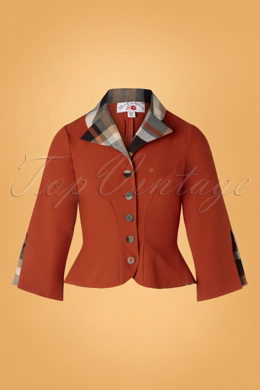 Vintage Coats & Jackets | Retro Coats and Jackets 50s Elke Amber Tartan Jacket in Brick £80.80 AT vintagedancer.com