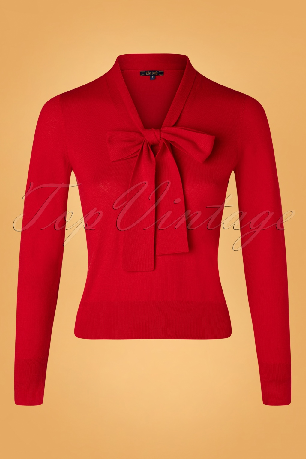 1950s Sweaters, 50s Cardigans, 50s Jumpers 50s Ellen Bow Cottonclub Top in Chili Red £59.52 AT vintagedancer.com