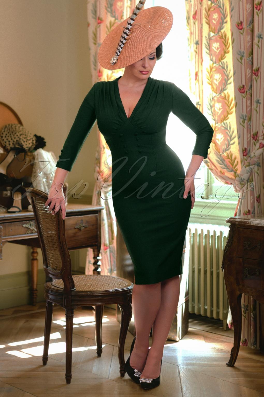 Pin Up Dresses | Pinup Clothing & Fashion The Richi Pencil Dress in Dark Green £102.82 AT vintagedancer.com
