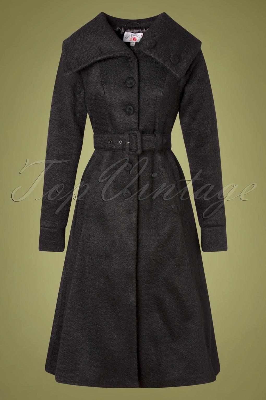Vintage Coats & Jackets | Retro Coats and Jackets TopVintage exclusive  60s Midge A-Line Winter Coat in Black £163.05 AT vintagedancer.com