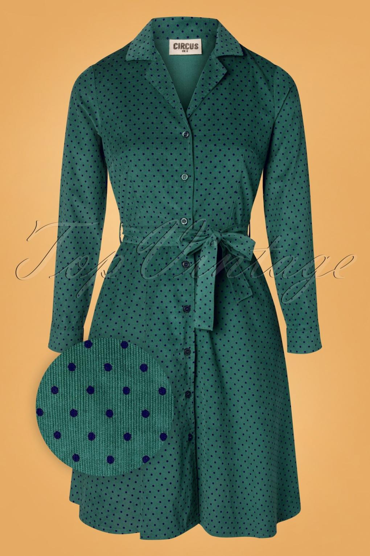 Vintage Coats & Jackets | Retro Coats and Jackets TopVintage exclusive  60s Emilia Pin Dot Dress in Teal £72.82 AT vintagedancer.com