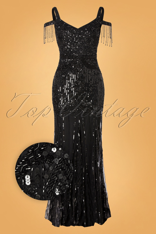 1920s Downton Abbey Dresses 20s Chloe Sequin Maxi Dress in Black £188.54 AT vintagedancer.com