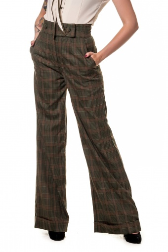 Lorenza Basset Check Swing Trousers SKU03120204 Green