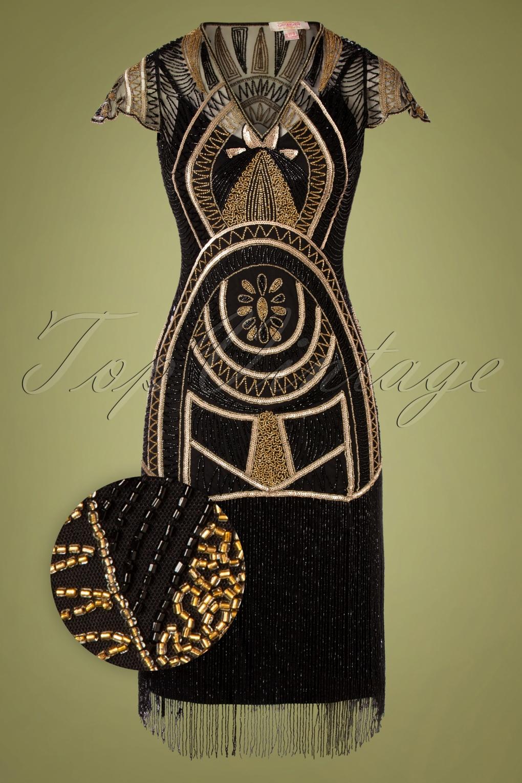 1920s Style Dresses, 20s Dresses 20s Mary Fringe Flapper Dress in Black £149.96 AT vintagedancer.com