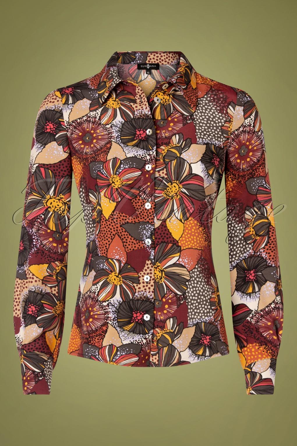 1970s Shirts, Tops, Blouses, T-Shirt Styles   History 70s Fenny Floral Blouse in Brown £55.69 AT vintagedancer.com