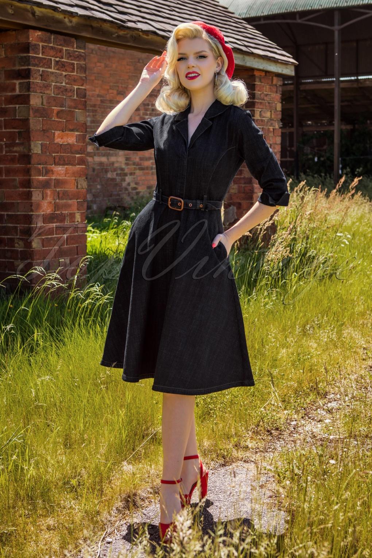 Pin Up Dresses | Pinup Clothing & Fashion 50s Lulu Denim Swing Dress in Dark Blue £94.25 AT vintagedancer.com
