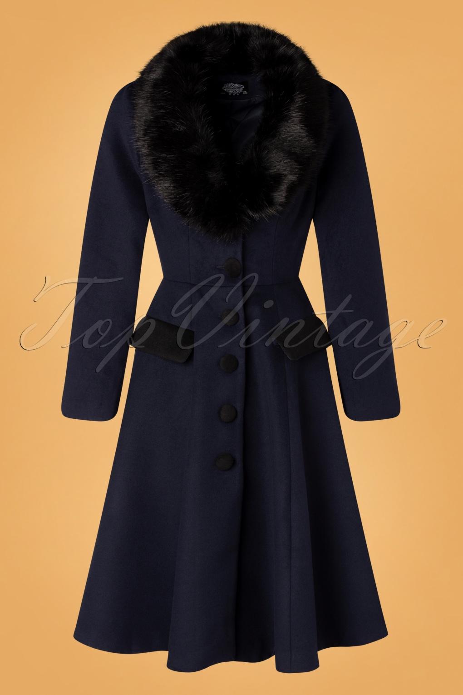 Vintage Coats & Jackets | Retro Coats and Jackets 50s Phoebe Coat in Navy £111.55 AT vintagedancer.com