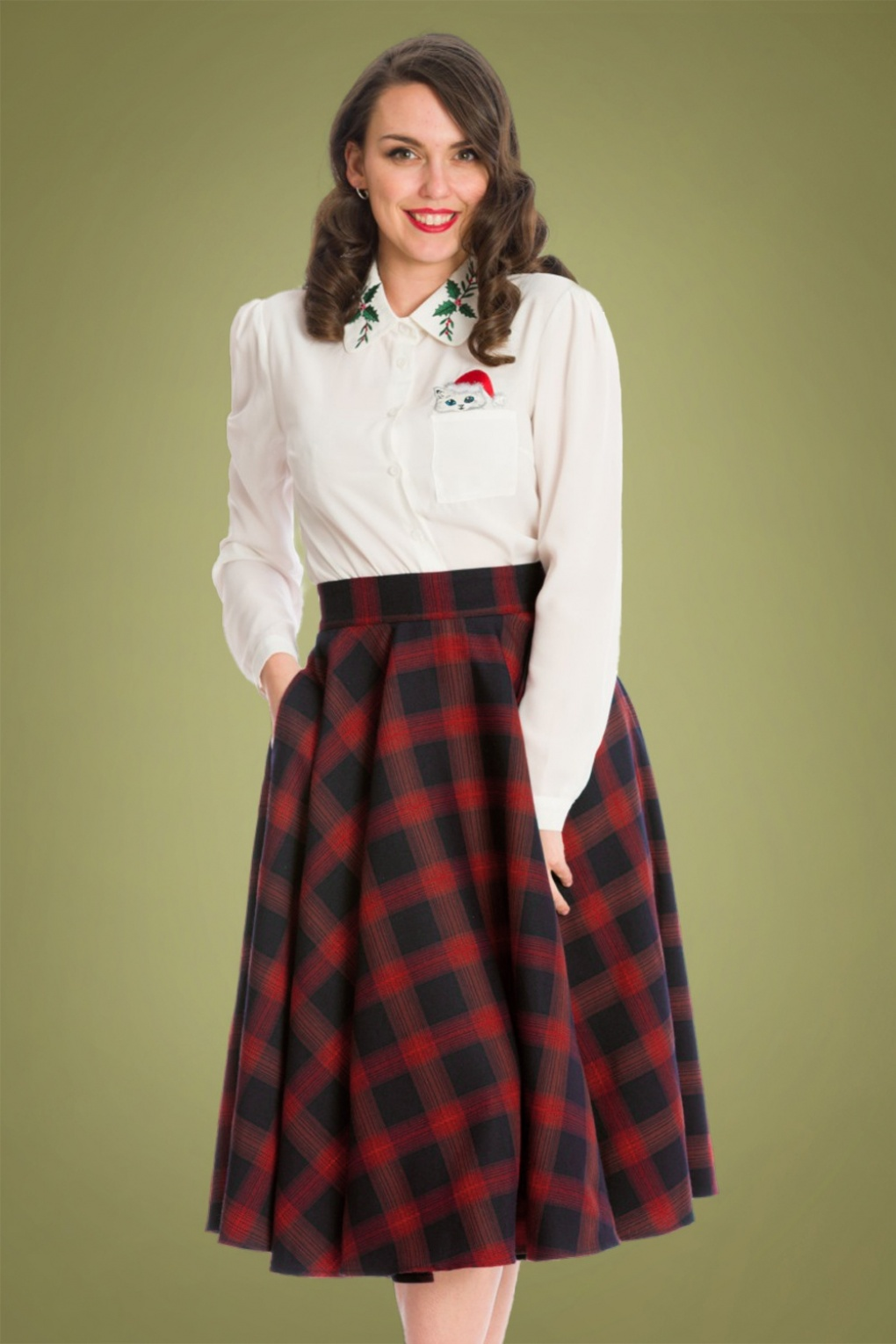 50s Skirt Styles | Poodle Skirts, Circle Skirts, Pencil Skirts 1950s 50s Sweet Check Swing Skirt in Red £49.41 AT vintagedancer.com
