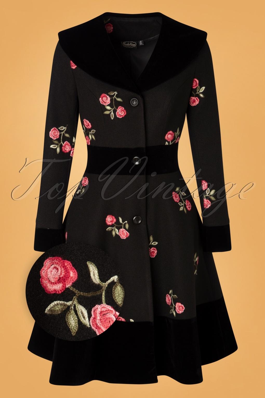 Vintage Coats & Jackets | Retro Coats and Jackets 50s Flo Floral Coat in Black £115.84 AT vintagedancer.com