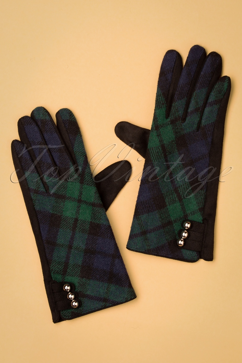 Vintage Style Gloves- Long, Wrist, Evening, Day, Leather, Lace 50s Holly Tartan Gloves in Navy £21.43 AT vintagedancer.com