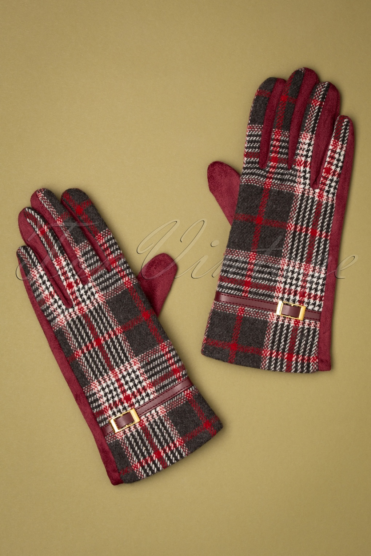 Vintage Style Gloves- Long, Wrist, Evening, Day, Leather, Lace 50s Ivie Tartan Gloves in Red £25.72 AT vintagedancer.com